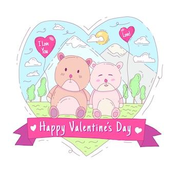 Walentynki ręcznie rysowane stylu