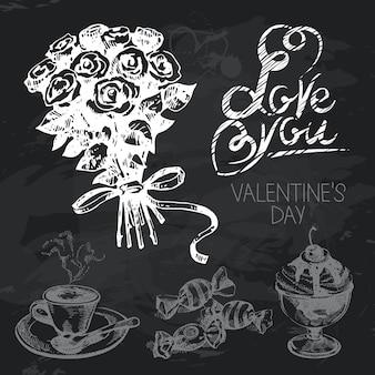 Walentynki ręcznie rysowane tablica projekt zestaw. czarna tekstura kredy