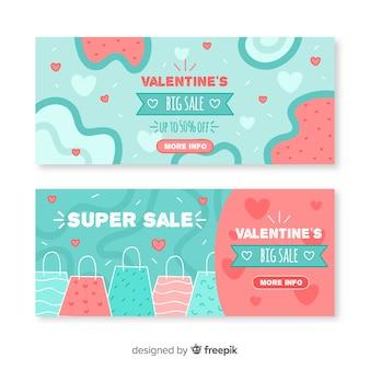Walentynki ręcznie rysowane transparent