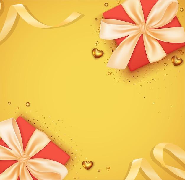 Walentynki romantyczne tło z realistycznym czerwonym pudełkiem na prezenty