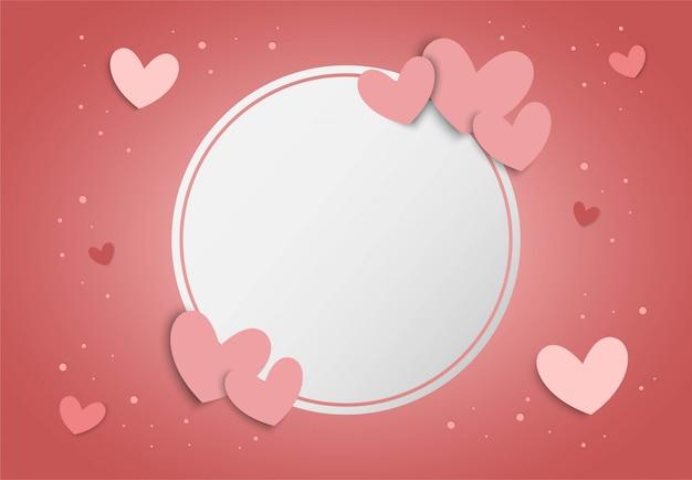 Walentynki różowy tło w kształcie serca