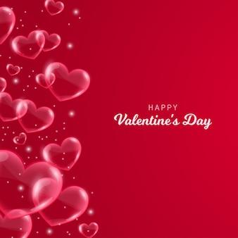 Walentynki serca czerwone bąbelki karty