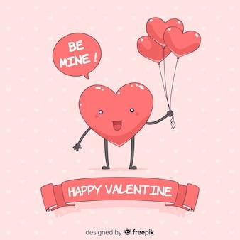 Walentynki serce z balonów tłem
