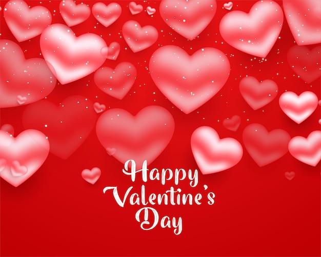 Walentynki spadające serca czerwona kartka projekt