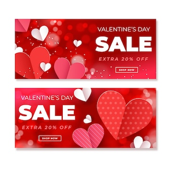 Walentynki sprzedaż banery w płaskiej konstrukcji