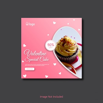 Walentynki sprzedaż instagram banner lub ulotki