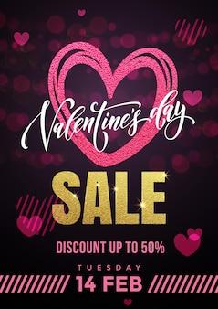 Walentynki sprzedaż pinak serce i złoty luksusowy tekst kaligrafii na tle czarnego wzoru premium dla sklepu