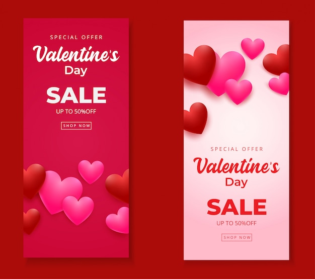 Walentynki sprzedaż pionowe banery