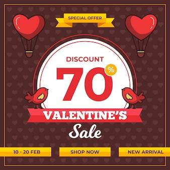 Walentynki sprzedaż płaska ilustracja