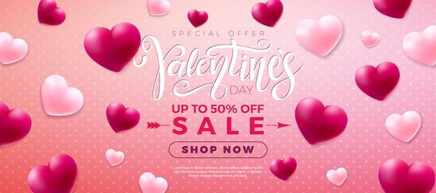 Walentynki sprzedaż projekt z biało -czerwone serce