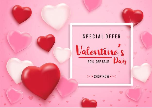 Walentynki sprzedaż tło z balonów serce i zestaw ikon wzór.