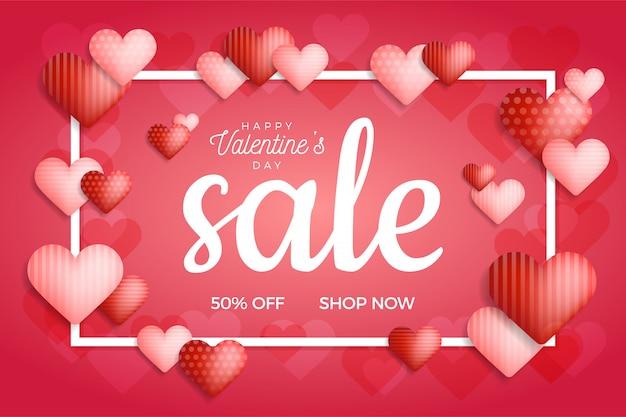 Walentynki sprzedaż transparent w trendowym klasycznym niebieskim kolorze z sercem balony