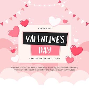 Walentynki sprzedaż transparent z chmury i serca.
