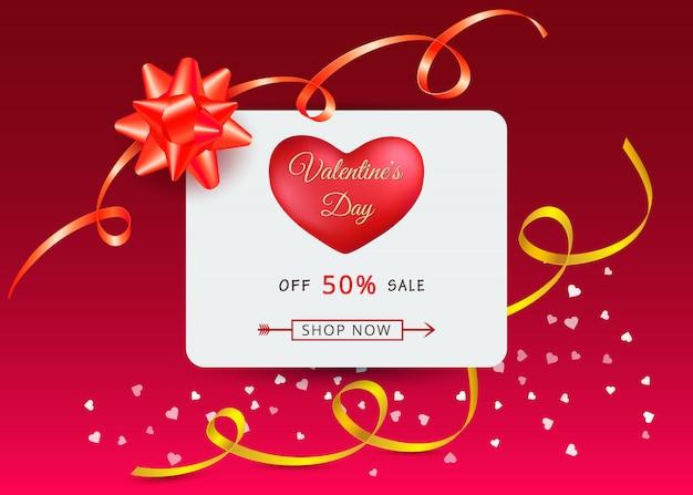 Walentynki sprzedaż transparent z czerwonym sercem i łuki prezent