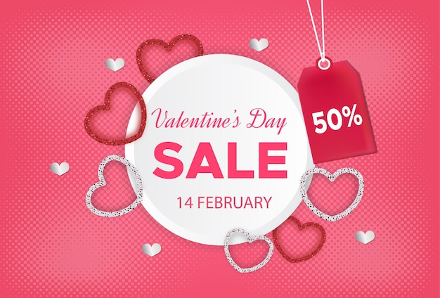 Walentynki sprzedaż transparent z etykietą rabatu