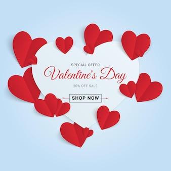 Walentynki sprzedaż transparent z papierowym sercem. ładny baner sprzedaży