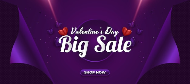 Walentynki sprzedaż transparent z realistycznymi sercami i otwartą koncepcją papieru do pakowania prezentów