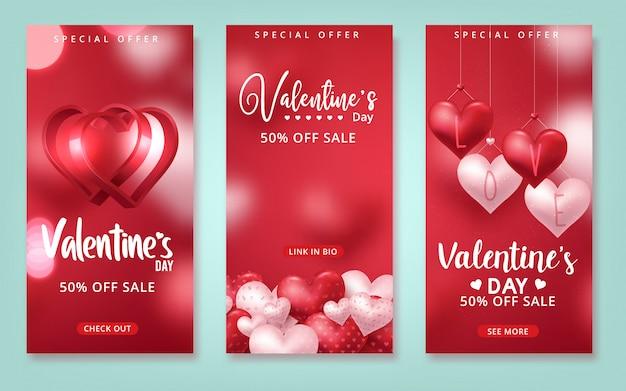 Walentynki sprzedaż wektor z czerwonymi balonami w kształcie serca w czerwonym tle na walentynki