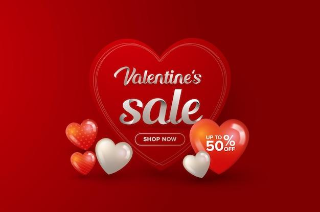 Walentynki sprzedaż z tłem ramki serca