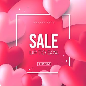 Walentynki sprzedaży transparent z tłem balonów