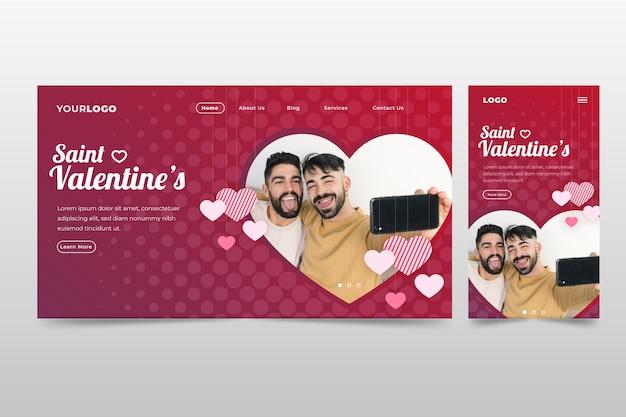 Walentynki strona docelowa z parą gejów