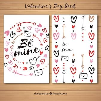 Walentynki szablon karty z ręcznie rysowane elementy
