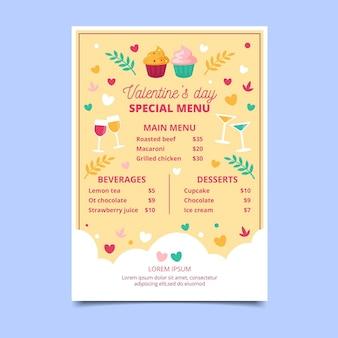 Walentynki szablon menu