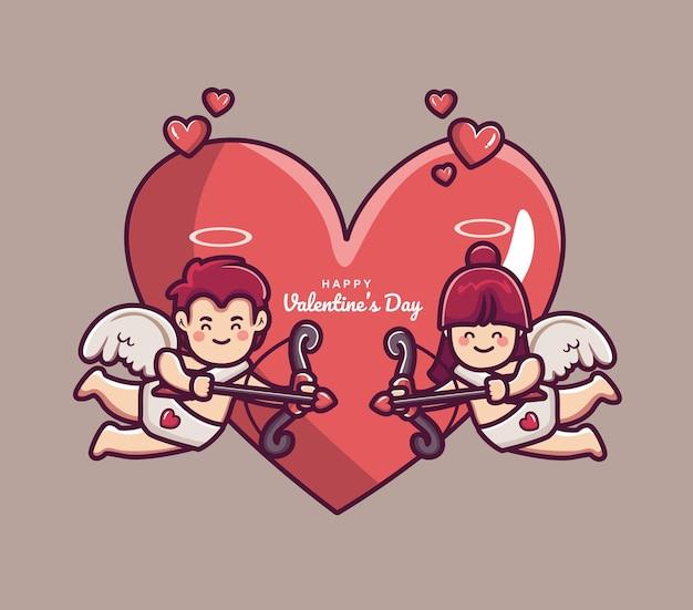 Walentynki tło para amorek chłopiec i dziewczynka trzyma strzałę i łuk