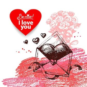 Walentynki tło. ręcznie rysowane ilustracja z transparentem formularza serca.