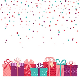 Walentynki tło, tło z prezentami i konfetti, ilustracji wektorowych