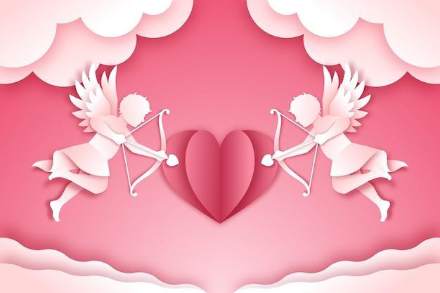 Walentynki tło w stylu papieru