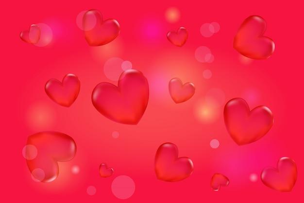 Walentynki tło z 3d czerwone serca na czerwono.