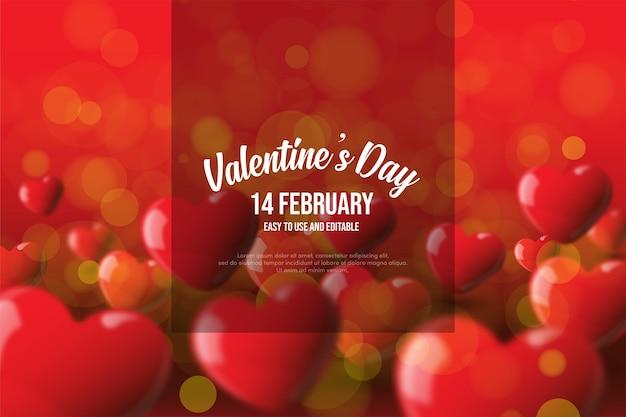 Walentynki tło z 3d czerwonych balonów miłości.