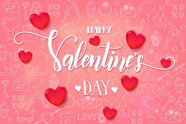 Walentynki tło z 3d czerwonym sercem i ramą na różowy wzór
