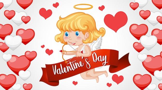 Walentynki tło z amorkiem i sercami