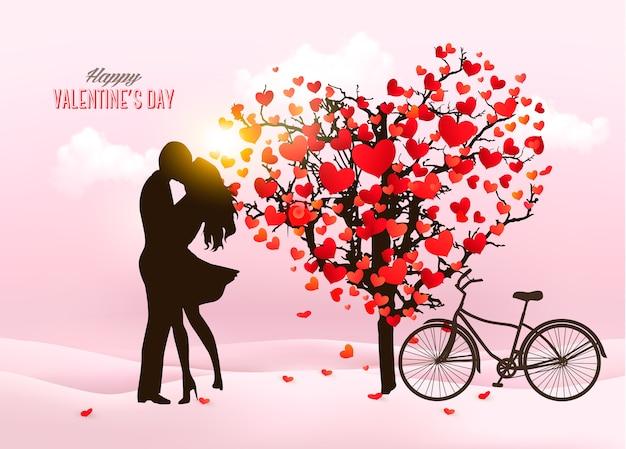 Walentynki tło z całującą się sylwetką pary, drzewem w kształcie serca i pudełkiem