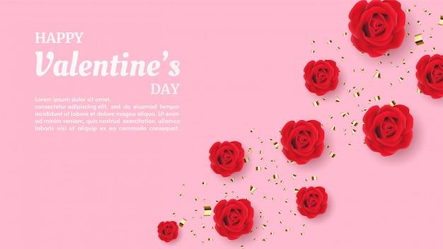 Walentynki tło z ilustracją czerwona róża