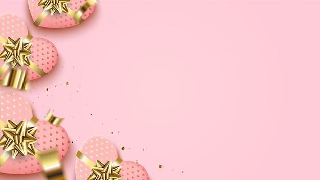 Walentynki tło z ilustracją różowe pudełko miłości ze złotą wstążką.