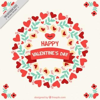 Walentynki tło z kwiatowym ozdoba i serca
