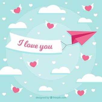 Walentynki tło z papierowy samolot