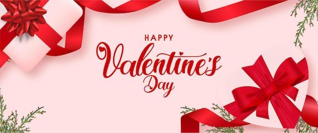 Walentynki tło z prezentami i realistyczny szablon wstążki