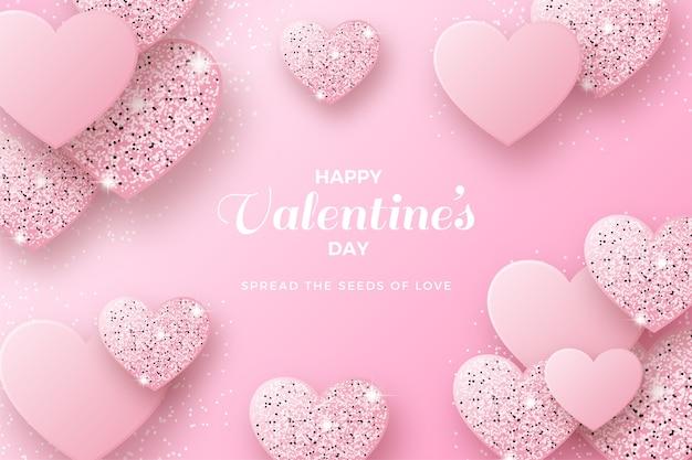 Walentynki tło z różowym brokatem miłości.