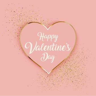 Walentynki tło z sercem i złotym brokatem