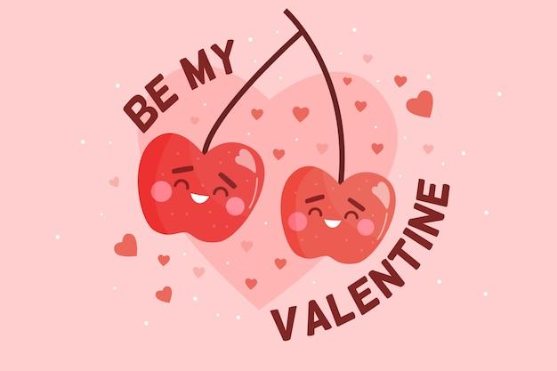 Walentynki tło z wiśniami