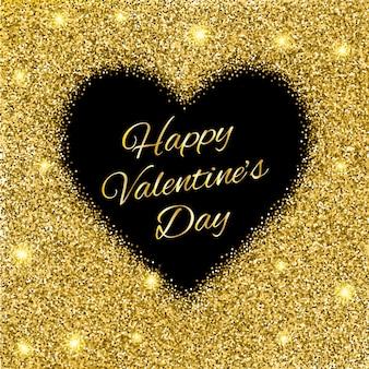 Walentynki tło z złotym brokatem serca.