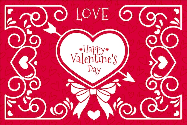 Walentynki tło ze strzałką i sercem