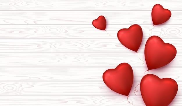 Walentynki transparent tło z balonów kształt serca.