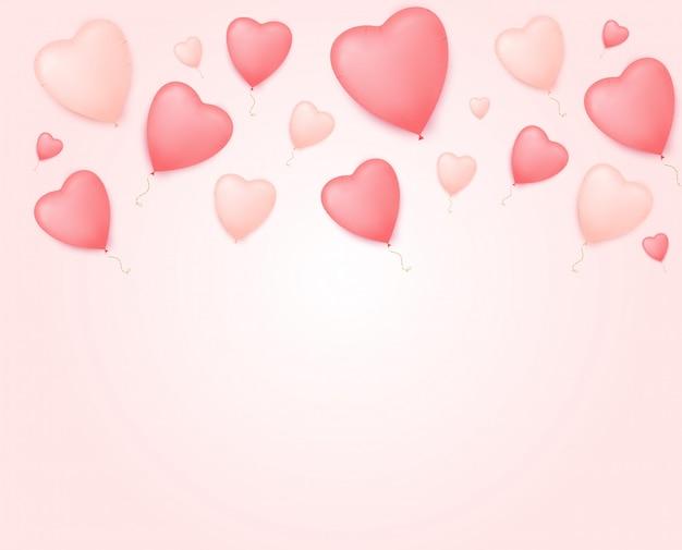 Walentynki transparent z balonami w kształcie serca.