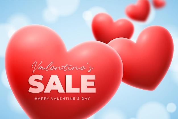 Walentynki transparent z czerwonym sercem i niebem, piękne realistyczne tło
