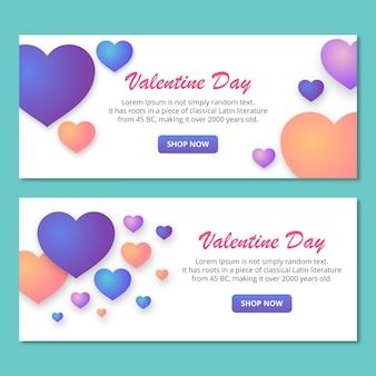 Walentynki transparent z kolorowe serca